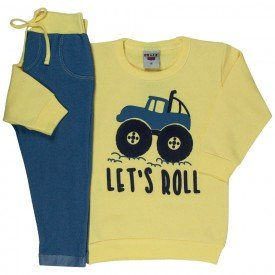 conjunto infantil masculino moletom let s roll e calca cotton jeans amarelo claro azul claro 4900 9799