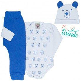 conjunto bebe masculino body ursinho e calca saruel touca de brinde branco azul palacio 4876 4948 9756