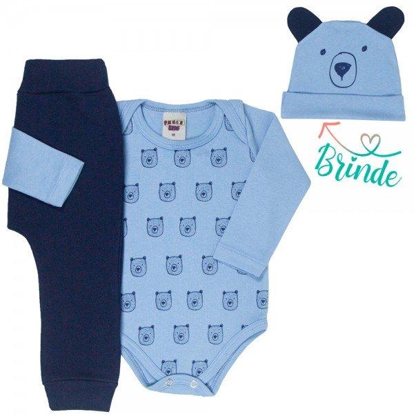 conjunto bebe masculino body ursinho e calca saruel touca de brinde azul claro marinho 4876 4948 9755