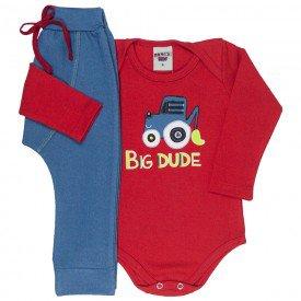 conjunto bebe masculino body big dude e calca saruel vermelho azul claro 4874 9751