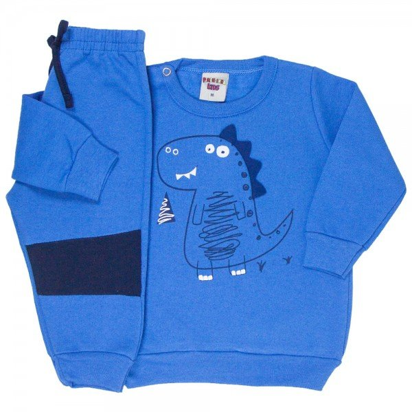 conjunto bebe masculino moletom dino e calca azul palacio marinho 4870 9741