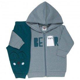 conjunto bebe masculino jaqueta bear com capuz e calca com aplique chumbo verde escuro 4878 9762