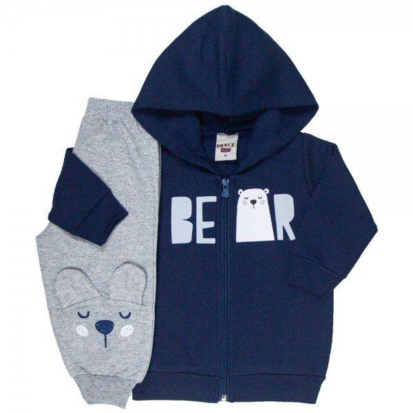 conjunto bebe masculino jaqueta bear com capuz e calca com aplique marinho mescla 4878 9761
