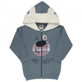 jaqueta infantil masculina ursinho moletom com detalhe em pelo chumbo off 4895 9787