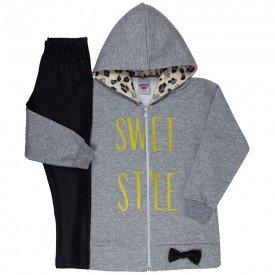 conjunto infantil feminino jaqueta sweet e calca legging cirre mescla preto 4843 9883