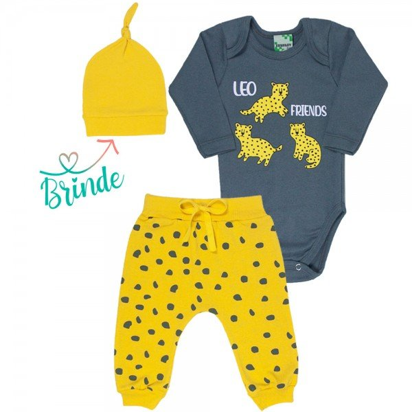 conjunto body chumbo e calca saruel amarela leopardo touca amarela de brinde 9720