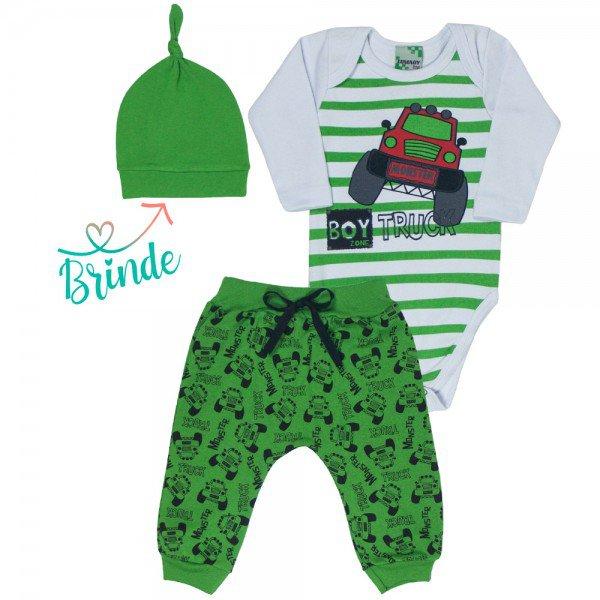 conjunto body branco e calca saruel verde truck touca verde de brinde 9721
