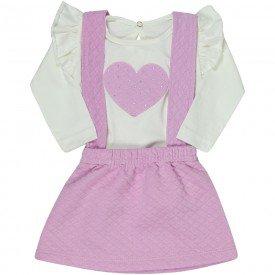 conjunto bebe feminino salopete rosa claro e blusa marfim 4812 9847