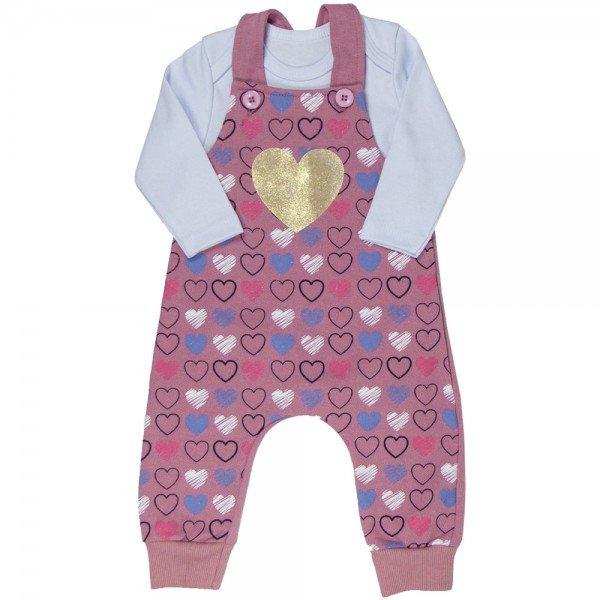conjunto jardineira infantil feminino e body coracao rosa branco kw011 9924