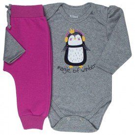 conjunto bebe feminino body pinguim e calca saruel mescla pink kw010 9922