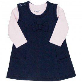 conjunto vestido bebe feminino e body laco rosa claro marinho kw012 9925