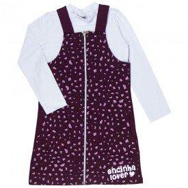 conjunto salopete infantil feminino e blusa oncinha branco vinho kw209 9943