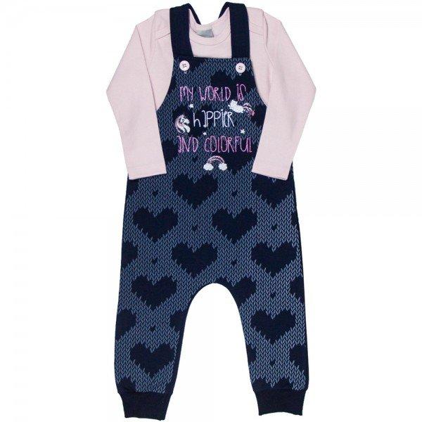 conjunto jardineira infantil feminino e body unicornio marinho rosa claro kw109 9934