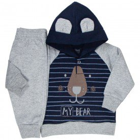 conjunto bebe masculino moletom ursinho mescla marinho kw406 9913