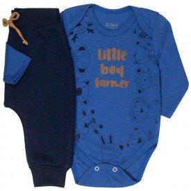 conjunto bebe masculino body safari e calca saruel indigo marinho kw409 9916