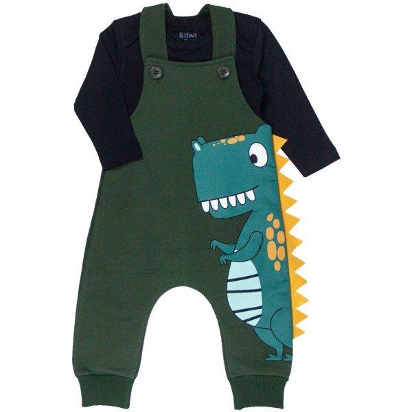conjunto jardineira bebe menino e body dino preto verde musgo kw410 9918
