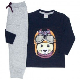 conjunto infantil masculino camiseta e calca moletom saruel marinho mescla kw507 9930