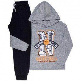 conjunto infantil masculino camiseta e calca moletom basketball mescla preto kw608 9941