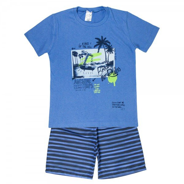 conjunto break the rules camiseta azul e bermuda listrada 10008 5661