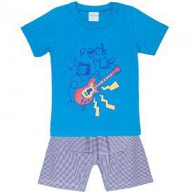 conjunto camisa rock star turquesa e bermuda marinho 4180 5485