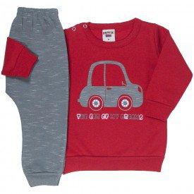 conjunto bebe masculino moletom the car e calca saruel vermelho chumbo 4875 9753