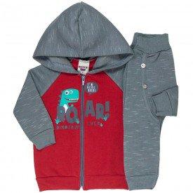 conjunto bebe masculino jaqueta e calca saruel vermelho chumbo 4871 9743