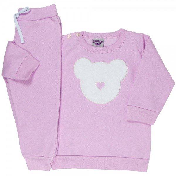 conjunto bebe feminino moletom urso rosa claro 4807 9839