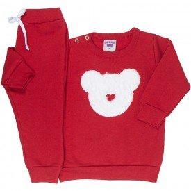 conjunto bebe feminino moletom urso vermelho 4807 9840