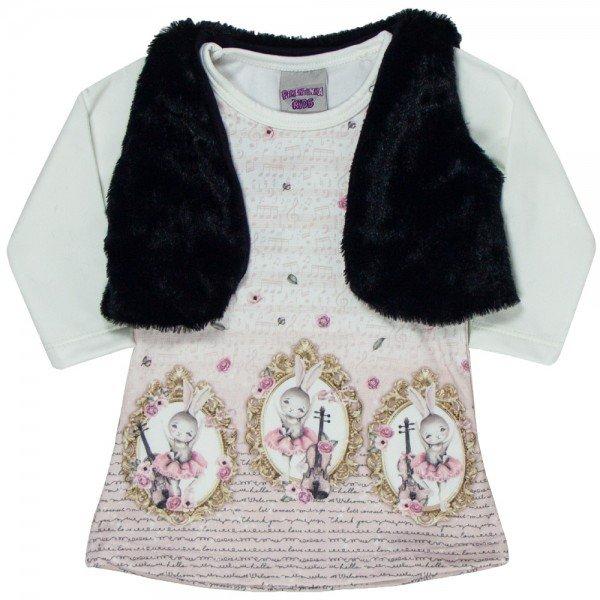 vestido bebe feminino suplex e colete em pelo off preto 4817 9912