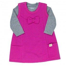 conjunto vestido bebe feminino e body laco mescla pinkkw012 9926