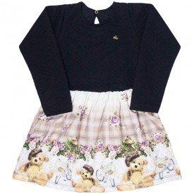 vestido infantil feminino matelasse ursinho preto 4841 9878