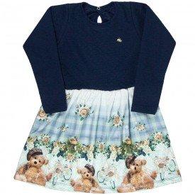 vestido infantil feminino matelasse ursinho azul marinho 4841 9879