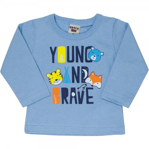 camiseta bebe masculina young and brave azul claro 4880 9767