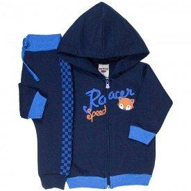 conjunto bebe masculino jaqueta racer com capuz e calca saruel com quadriculado marinho 4873 9749
