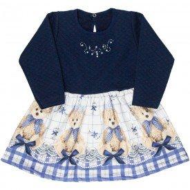 vestido infantil feminino matelasse ursinho azul marinho 4822 9854