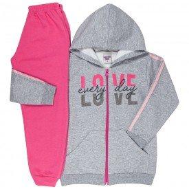 conjunto infantil feminino jaqueta love e calca basica mescla rosa 4849 9895