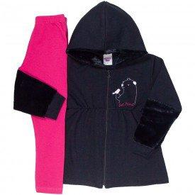 conjunto infantil feminino casaco pelinho e calca legging preto pink 4842 9881