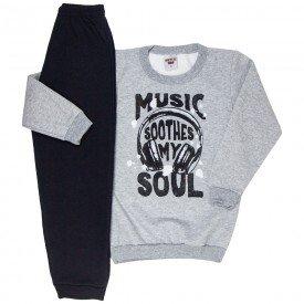 conjunto infantil masculino moletom music e calca mescla preto 4911 9815
