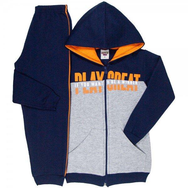 conjunto infantil masculino jaqueta play grate com capuz e calca mescla marinho 4912 9817