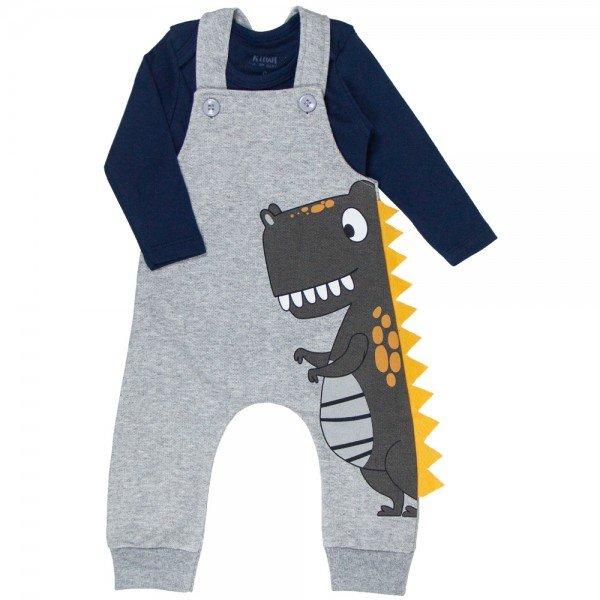 conjunto jardineira bebe menino e body dino mescla marinho kw410 9919