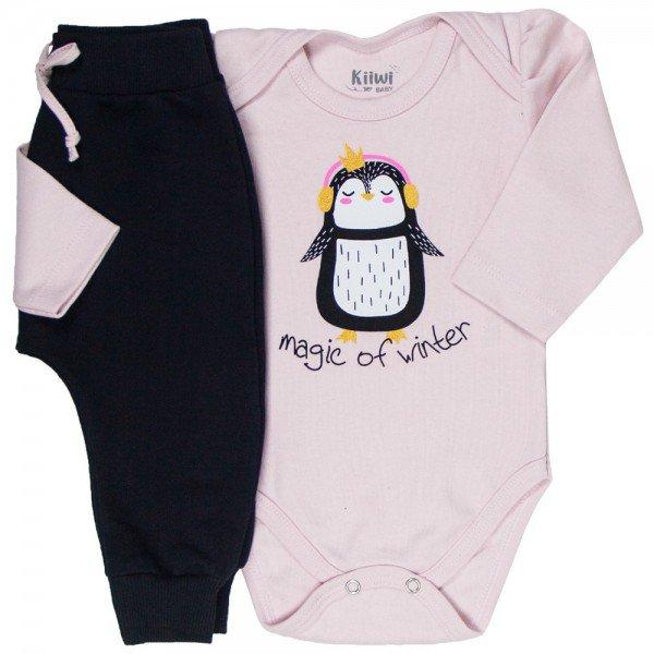 conjunto bebe feminino body pinguim e calca saruel rosa claro preto kw010 9921