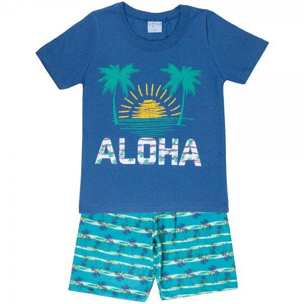 conjunto camisa aloha azul jeans e bermuda sublimado verde 4195 5514