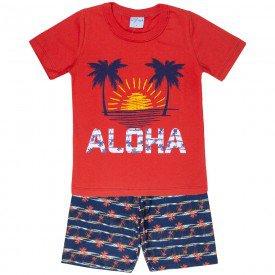 conjunto camisa aloha vermelho e bermuda sublimado marinho 4195 5515