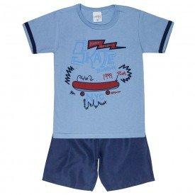 conjunto camisa skate azul com bermuda 4076 5222