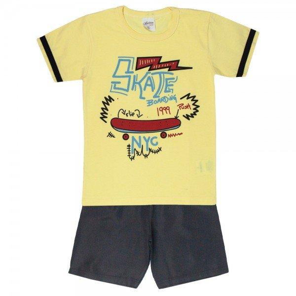 conjunto camisa skate amarelo com bermuda 4076 5223