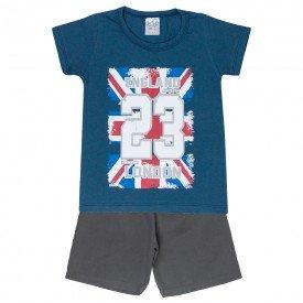 conjunto camiseta azul london e bermuda tactel 0183 5129