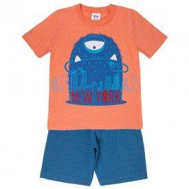conjunto camiseta monstrinho laranja e bermuda azul 406 4708