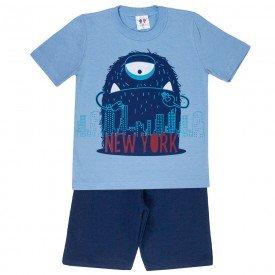 conjunto camiseta monstrinho e bermuda moletinho azul 406 4707