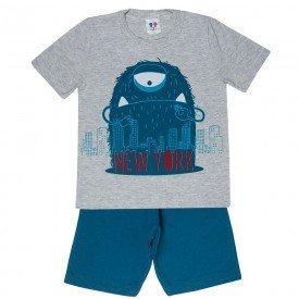 conjunto camiseta monstrinho e bermuda moletinho mescla 406 4706