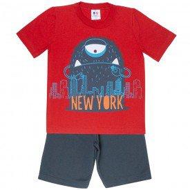 conjunto camiseta monstrinho vermelho e bermuda moletinho 406 4709
